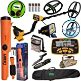 "Garrett ACE 400 Metal Detector with DD Waterproof Coil, Propointer AT Pinpointer, Metal Scoop, Camo Pouch, Edge Digger and 50"" Travel Bag"