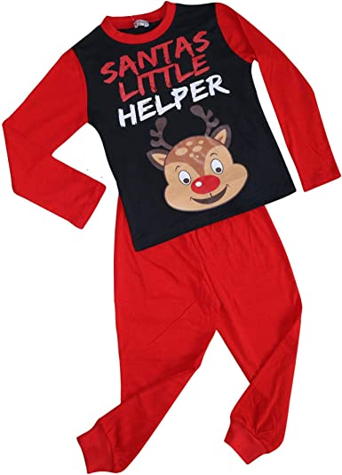 Kids Girls Boys Pyjamas Reindeer Rudolph Santas Little Helper Red Xmas Pjs 2-13Y