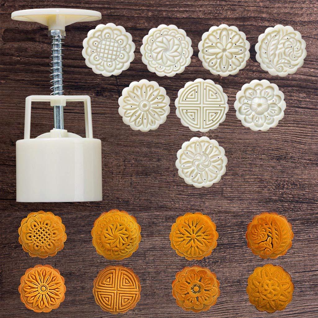 Wanghuaner 8pcs presse /à la main timbre /à biscuits g/âteau de lune d/écor moule en baril moule mooncake bricolage