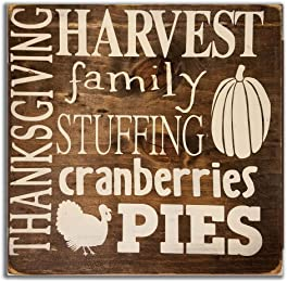 eThought Inspirational Sign - Thankgiving, Harvest, Family, Stuffing, Cranberries, Pies