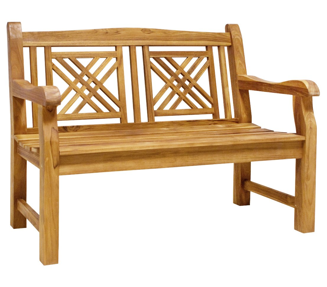 Dehner Gartenbank Korfu 2-Sitzer, ca. 120 x 66 x 90 cm, FSC Teakholz, natur