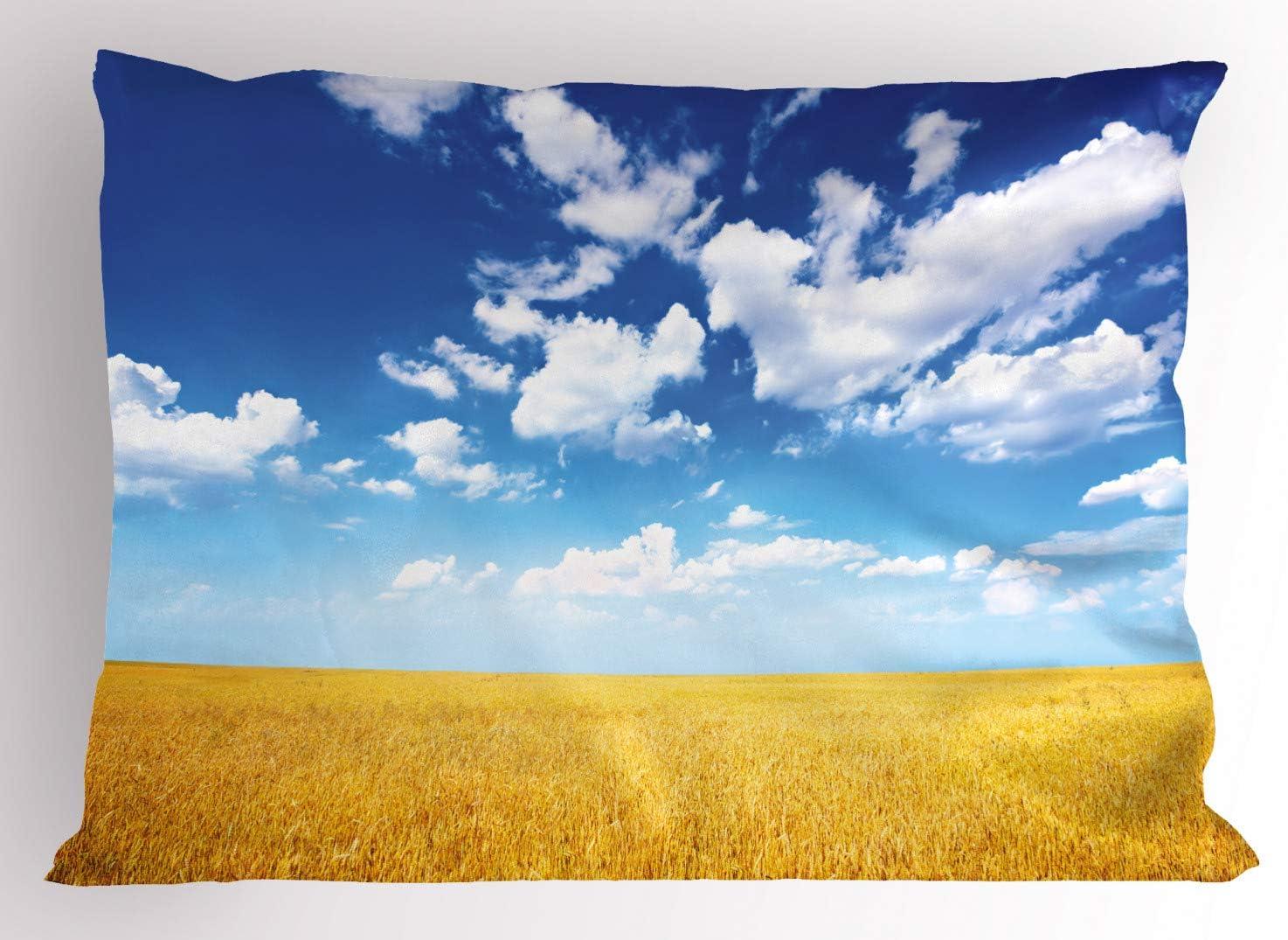 ABAKUHAUS Casa De Campo Funda de Almohada, El Campo De Trigo De Verano, Decorativa de Suave Microfibra Estampada Lavable, 90 X 50 cm, Tierra Amarillo Azul Blanco