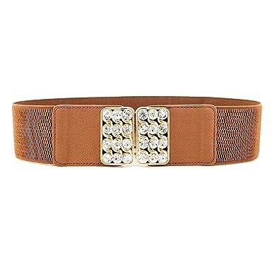 femmes taille élastique ceinture extensible femmes mode large strass boucle  ceinture - Marron, Medium 21d33bf5b4f