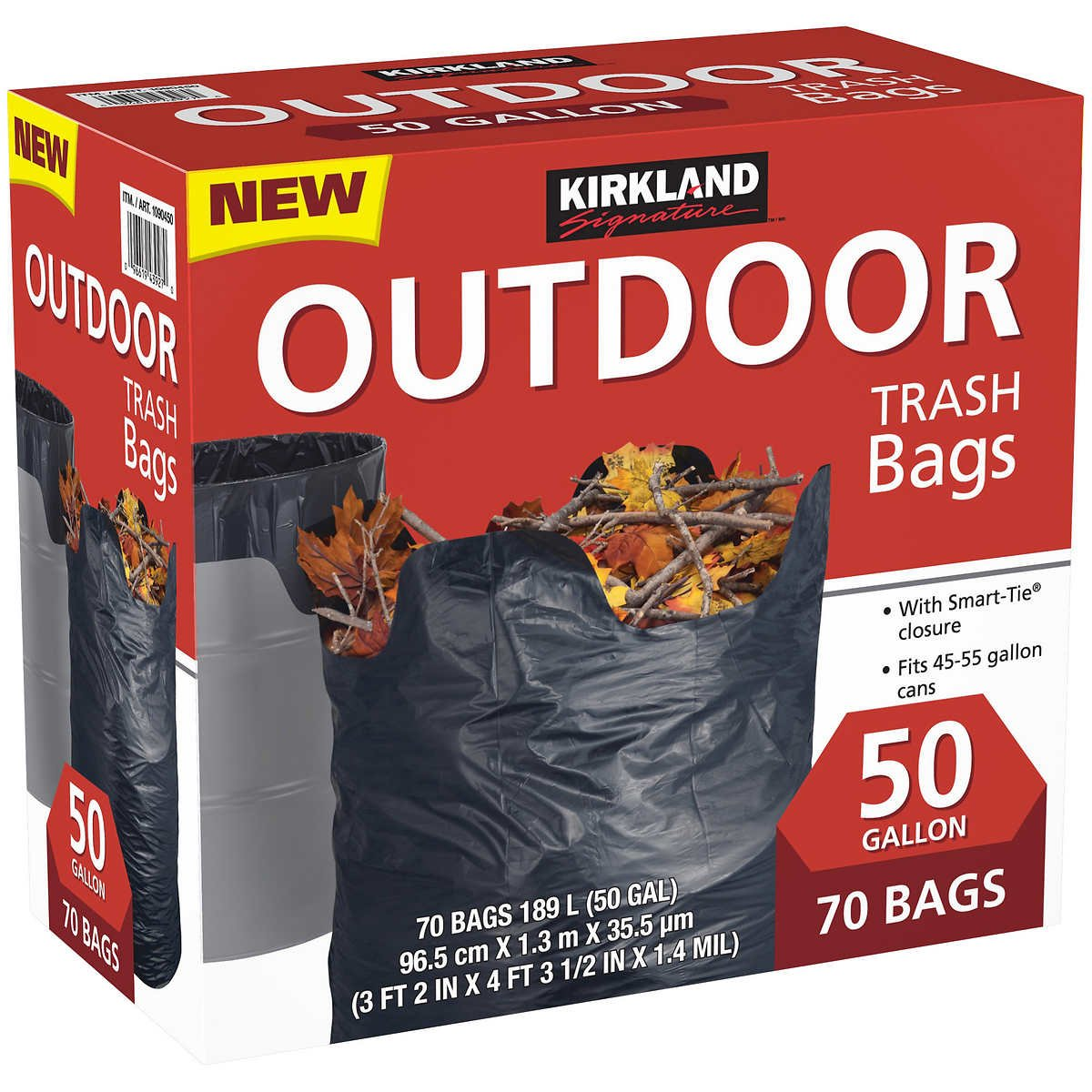 Kirkland Signature Outdoor 50 gallon Trash Bags (70 Bags) (3 Pack(Total 210 Bags, Each 70 Bags)) by Kirkland Signature (Image #1)
