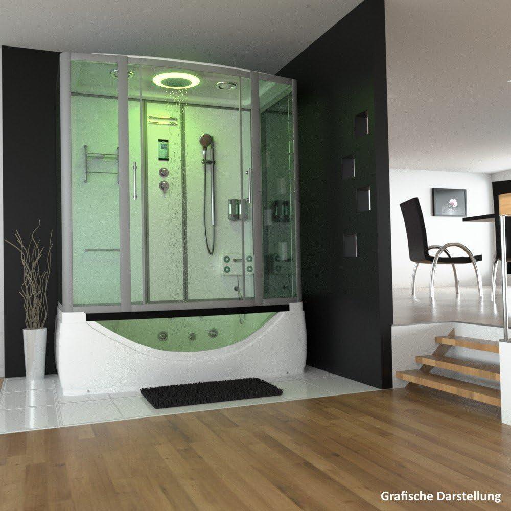 troni técnica Vapor ducha ducha Templo Whirlpool Bañera Completo ducha cabina de ducha Ducha 170 x 90 color blanco: Amazon.es: Hogar