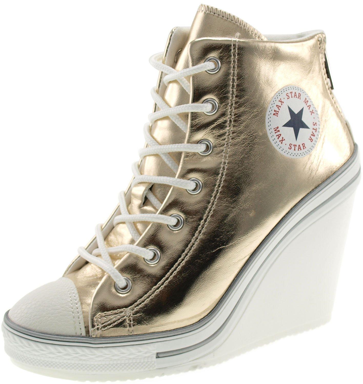 Maxstar Women's 777 Back Zipper PU High Wedge Heel Sneakers B00CMYYMY2 7 B(M) US|Gold