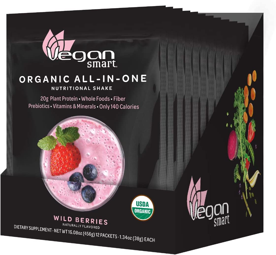 Vegansmart Plant Based Organic Protein Powder, All-in-One Nutritional Shake, Wild Berries, 12 Single Serve Packets