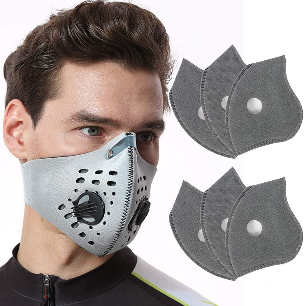 Dorakitten Mascarilla de Boca, Máscara de respiración - Reutilizable, mascarilla de Proteccion Polvo,máscara de carbón Activado, protección respiratoria con 6 Filtro