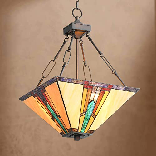 Ranier Bronze Pendant Chandelier 16 Wide Mission Tiffany Style Art Glass 3-Light Fixture for Dining Room House Foyer Kitchen Island Entryway Bedroom Living Room – Robert Louis Tiffany