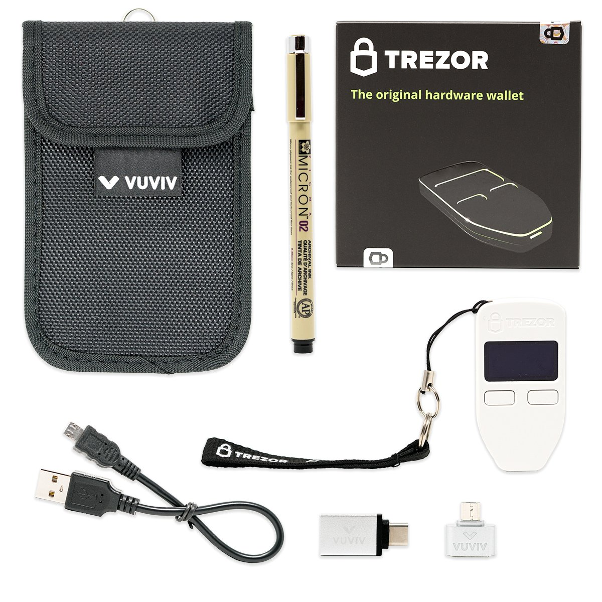 VUVIV Trezor White Bitcoin Wallet Bundle With RFID Pouch, 2 USB Adapters for Greater Connectivity & 1 Sakura Archival Ink Pen for Recovery Seed Sheet (5 items)