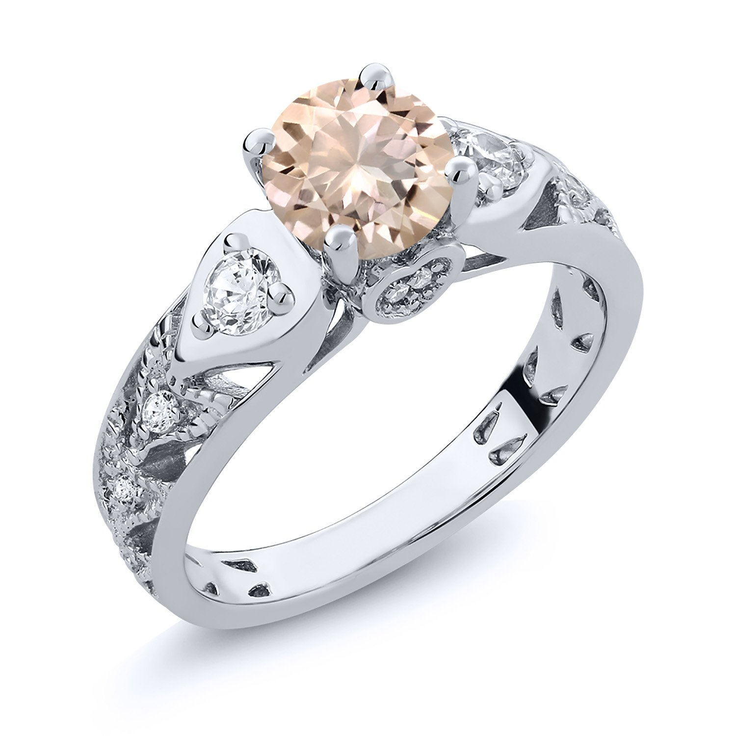 925 Sterling Silver Peach Morganite Women's Ring 1.86 Ctw Round (Size 6)