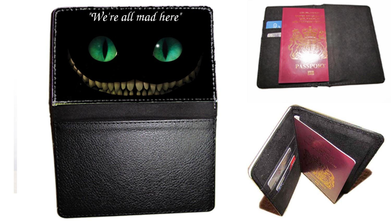 passport cover We 'RE All MAD HERE Grinsekatze Alice im Wunderland passt Travel Fall UK Passport Dokument