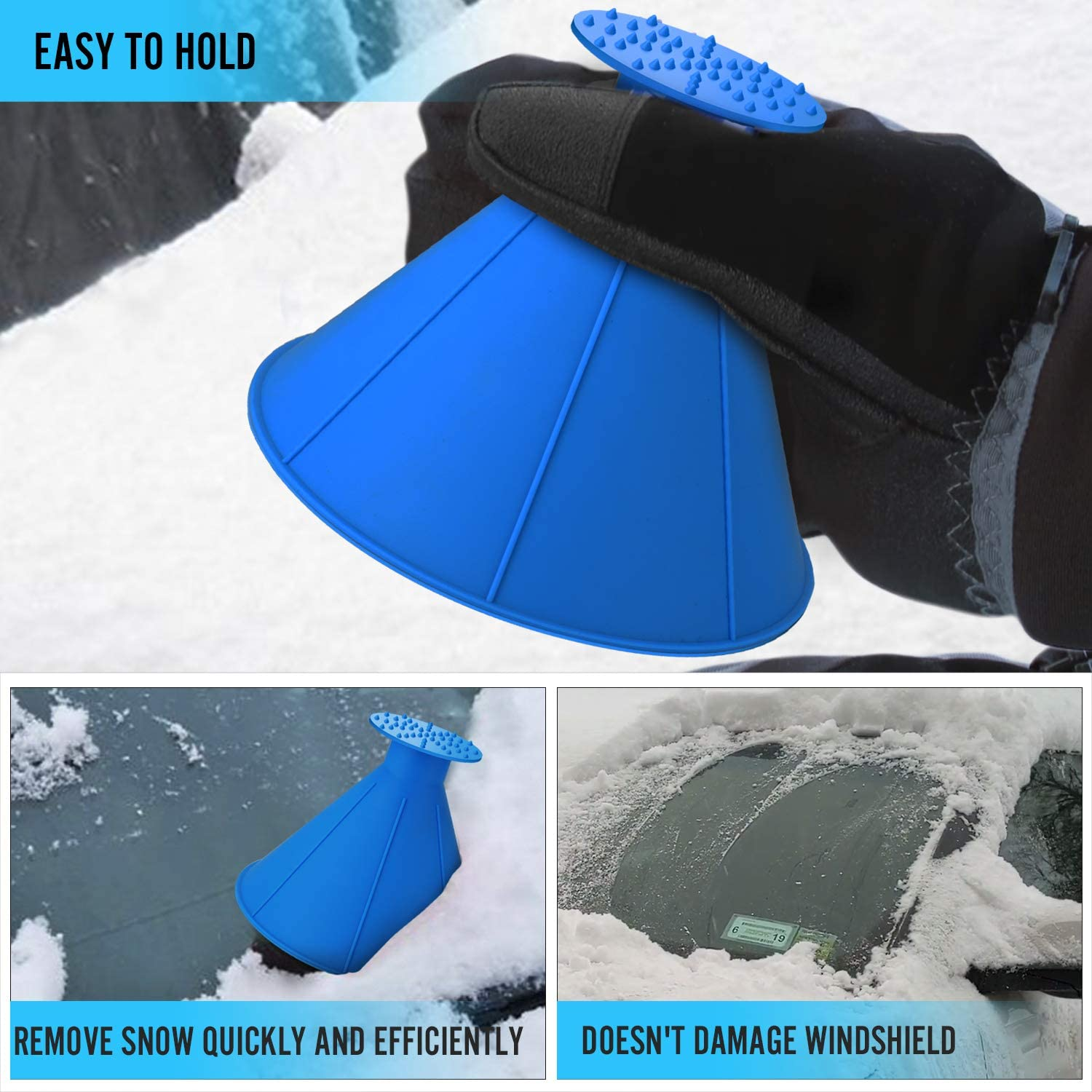 SEVENS 2 Pack Ice Scraper Round Car Window Windshield Cone Shaped 6.8/″Larger Coverage Diameter Snow Ice Scraper Funnel Removal Tool with 6 Ice Breakers Black