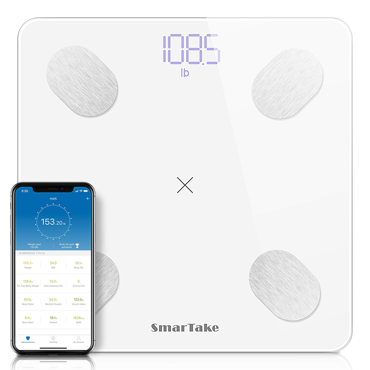 Upgraded Bluetooth Body Fat Scale, SMARTAKE 11.8 x 11.8 Inch Digital Weight Scale, Large Platform Precision BMI Scale with Smart App, Body Composition Scale with 13 Key Data, White
