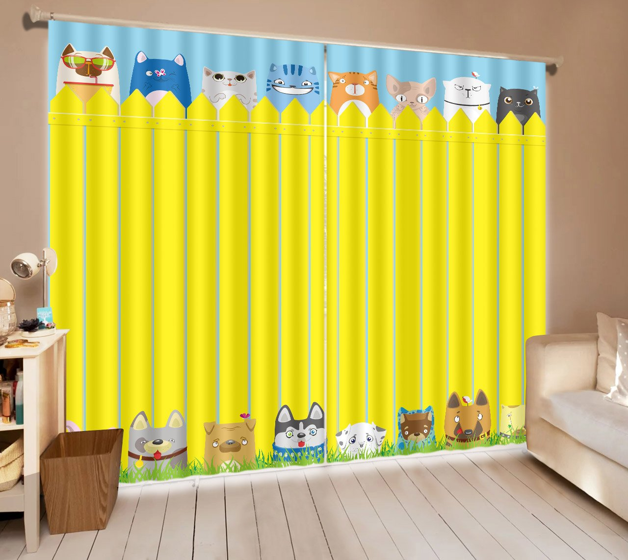 Cartoon Pet Dog Cat Theme House Decor Window Curtain by LB, Animal Cute Pet Lover for Kids Room Nursery Room, Artistic Window Treatment Panels, 118x106 Inches (2 Panels Size) , Yellow