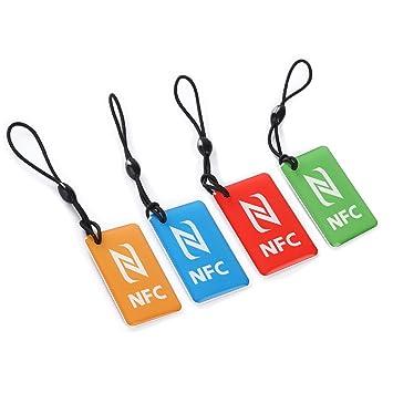 tinxi® Llaveros 4x NFC, colgantes, etiquetas estándar NFC, etiquetas inteligentes, Día, Ntag203