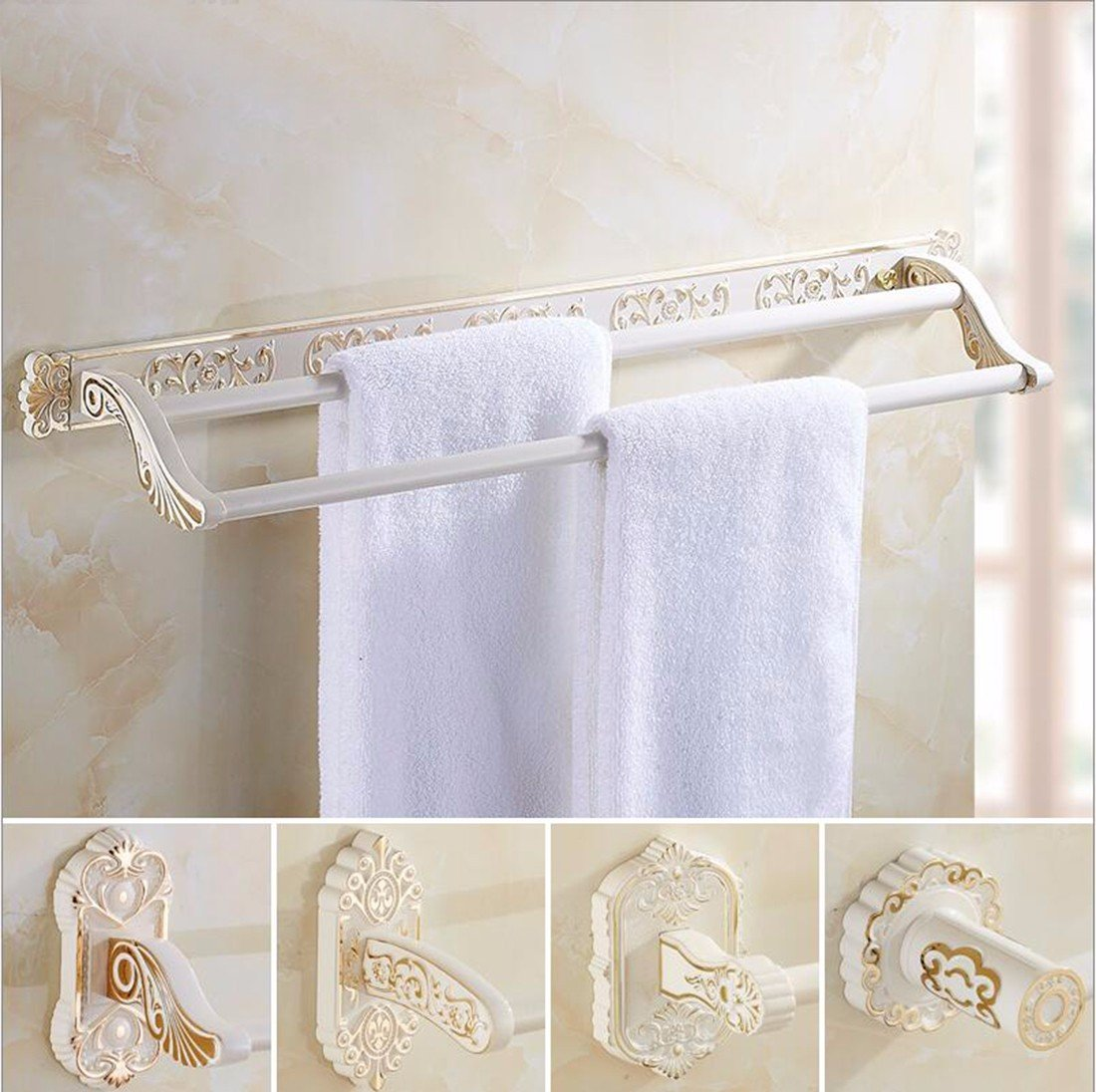 Sursy Gold Plus de estilo europeo blanco horneado, pintura pintura blanca con doble barra, toallas de baño, toallas de baño, rack, hardware,un colgante: ...