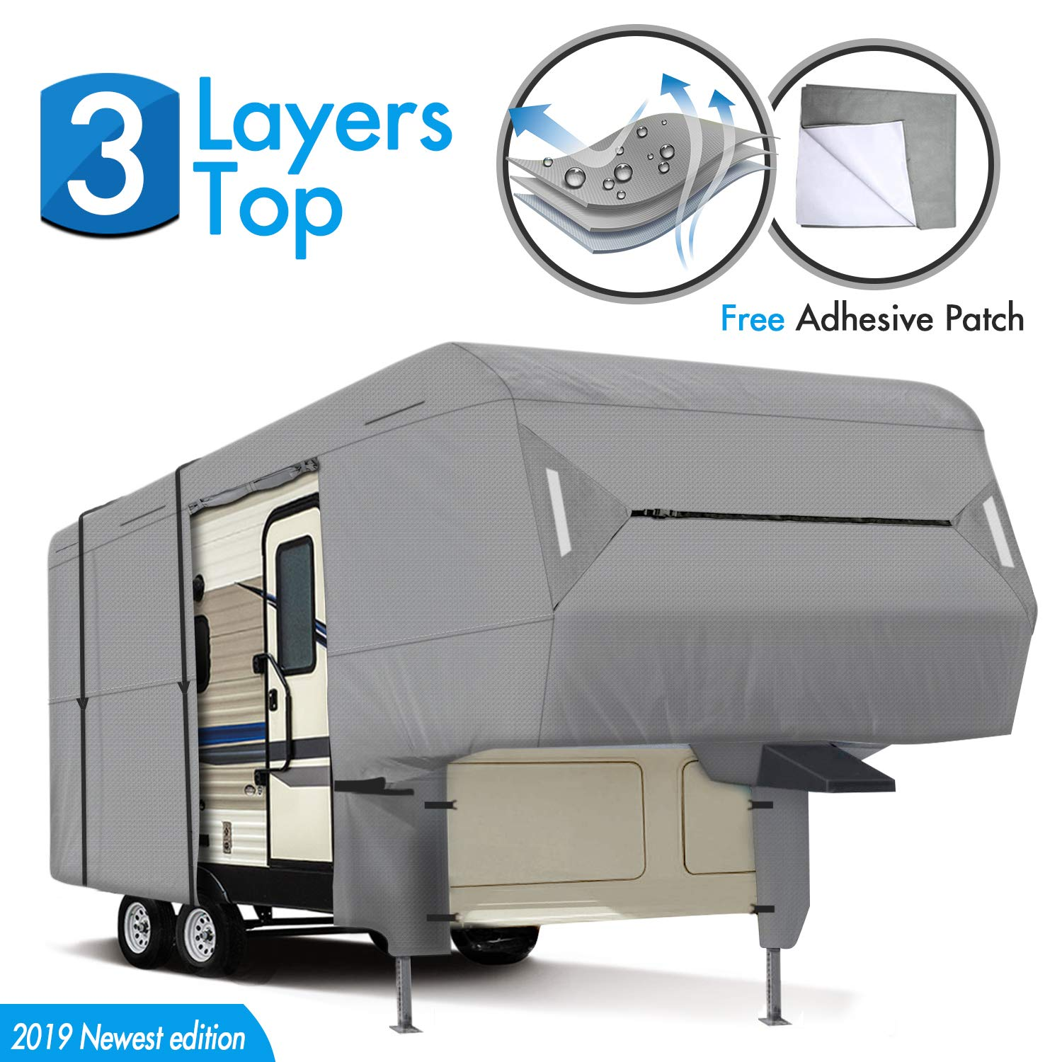 XGEAR 5th Wheel RV Cover 33'-37' Thick 3-Ply Top Panel - Ripstop Waterproof RVs Covers by XGEAR
