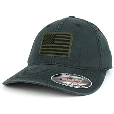 Armycrew XXL Oversize Washed Black Olive American Flag Patch Flexfit Cap -  Black e01a33a3476