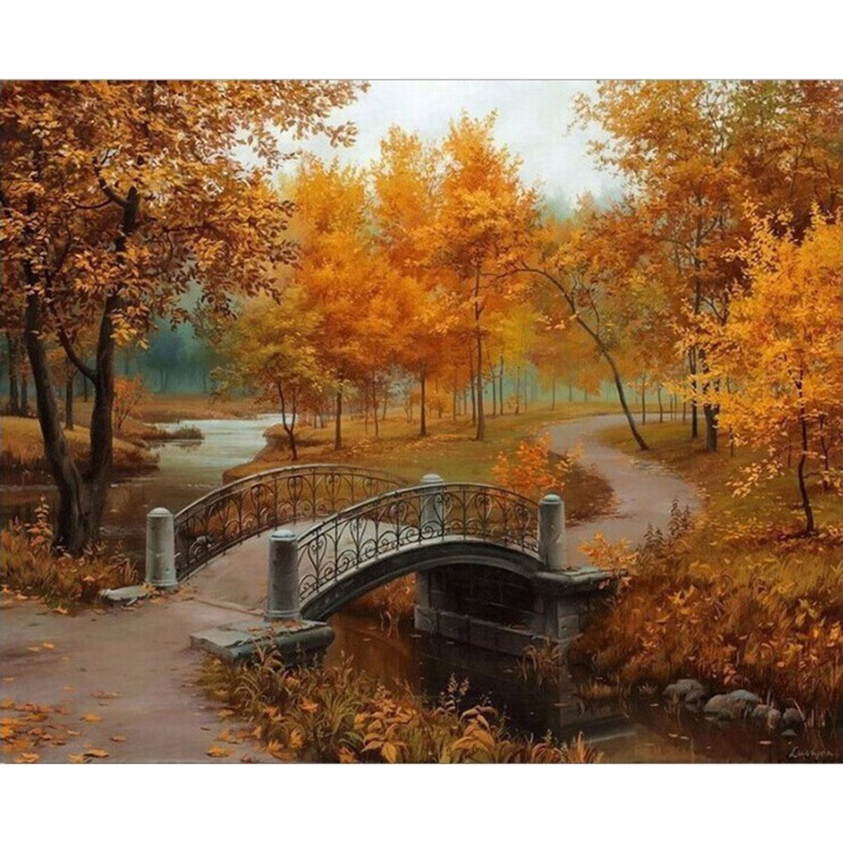 Shukqueen Diy Oil Painting, Adult's Paint by Number Kits, Acrylic Painting-Autumn 16X20 Inch (Framed Canvas)