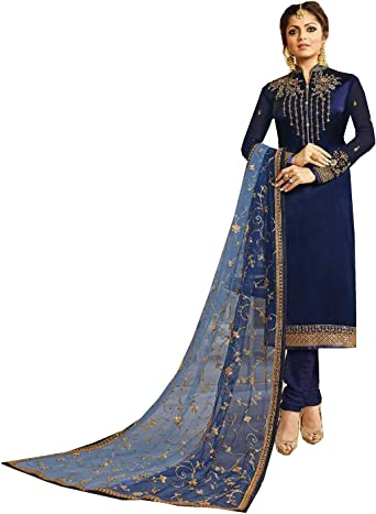 Indian Pakistani Printed Cotton Suit Blue Casual Stitched Shalwar Kameez Salwar