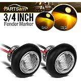 "Partsam (2) 3/4"" Amber Bullet Button LED Clearance Marker Side Light/Grommet 3SMD Clear Lens Aux Stop Turn Tail Flush Mount"