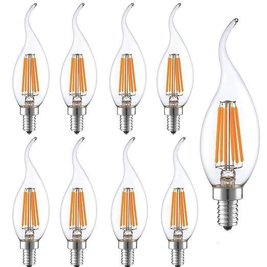 9 Pack 6 W LED Vintage Filamento Vela Bombillas Dimmable, KINGCOO antiguo Edison C35 forma