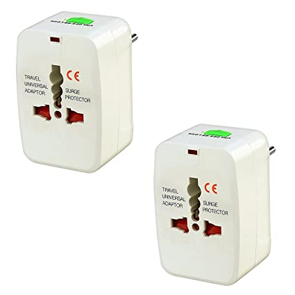 Technotech (2 Pack) International All in One Universal World Wide Travel Plug Adapter White