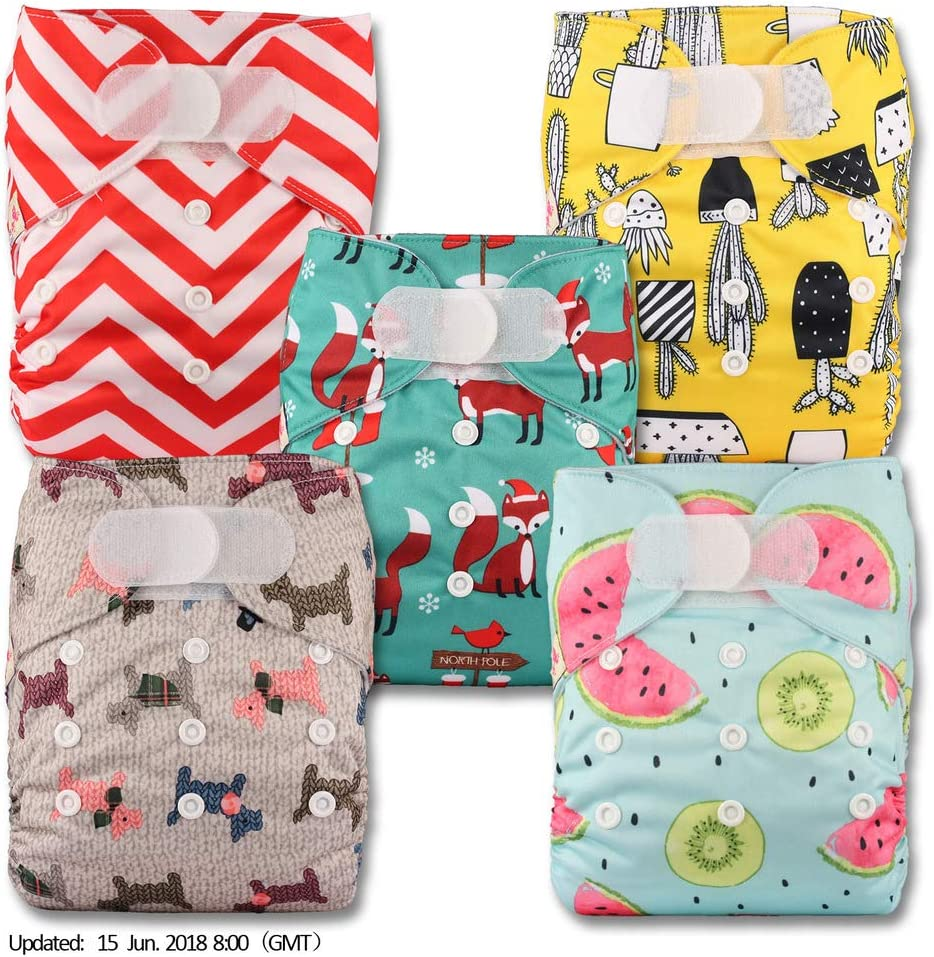 with 10 Microfibre Inserts Set of 5 Reusable Pocket Cloth Nappy Littles /& Bloomz Fastener: Hook-Loop Patterns 512
