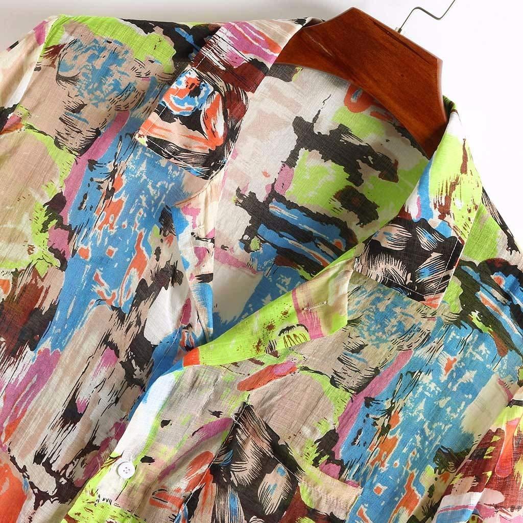 Coersd Men Breathable Colorful Printing Loose Turn Down Collar Short Sleeve Shirt