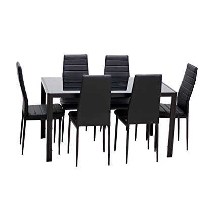 0679e8920 Amazon.com - EBS 7 Piece Dining Table Set for 6 Kitchen Dinette Furniture  with Glass Top and Metal Leg