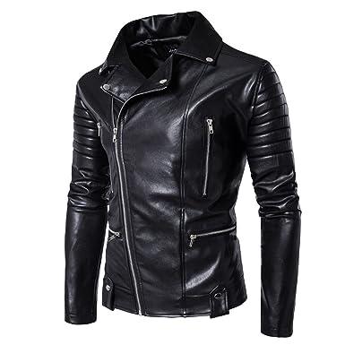 Mens Black Leather Motorcycle Jacket (m)