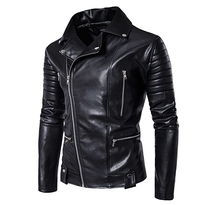 unkonw Mens Black Leather Motorcycle Jacket at Amazon Mens Clothing store: