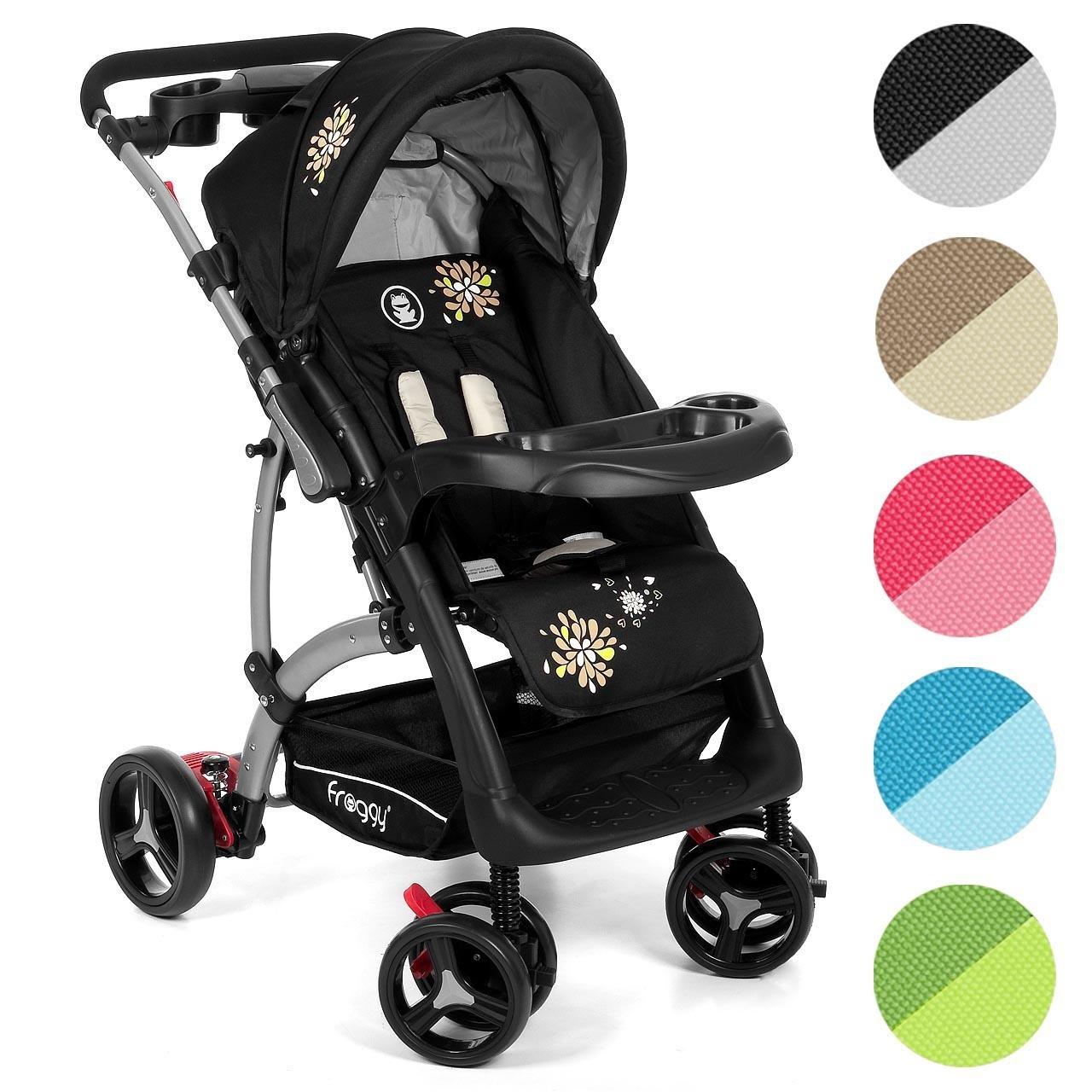 Froggy® RANGER.S4 pram buggy stroller push chair 4 Wheels Black