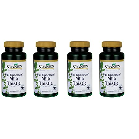 Swanson Milk Thistle Liver Support Cleanse and Detox Supplement Seed Extract 500 mg per Capsule 1000 mg per 2 Capsule Serving Size 100 Capsules 4 Pack