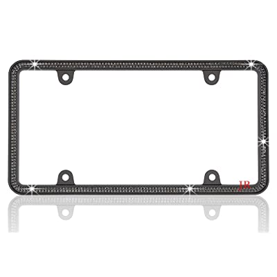 JR2 500 Super Bling Black Glass Crystals Black Metal License Plate Frame+Free Diamond Caps (Black): Automotive