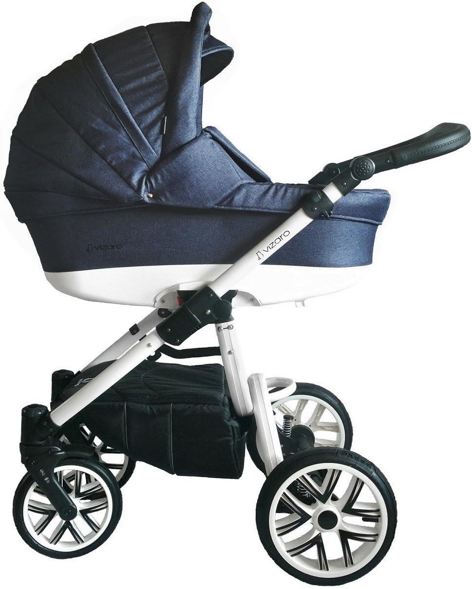 Vizaro PEARL 2020 TRÍO 3 en 1 - Carro Bebé GAMA LUJO REAL - MARCA ESPAÑOLA - Muy elegante - Hecho en UE - TEXTILES MUY ALTA CALIDAD - Garantía 3 Años - Textil AZUL Chasis BLANCO