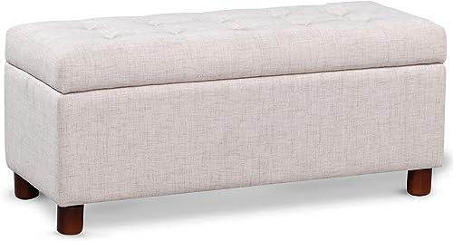 Reviewed: Merax Fabric Tufted Top Storage Bench Rectangular Storage Ottoman Beige