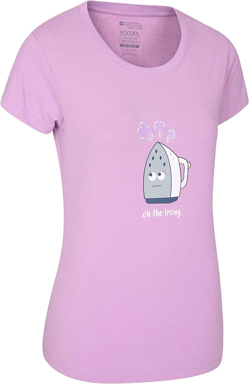 Mountain Warehouse Camiseta Oh The Irony Estampada para Mujer - Protección UV, Ligera, Transpirable, absorción de la Humedad y Secado rápido - para Paseos y excursiones Morado 38: Amazon.es: Ropa y accesorios