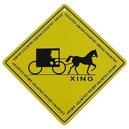 Amazon.com: Metal Yellow Caution Warning Road Street Sign Amish ...