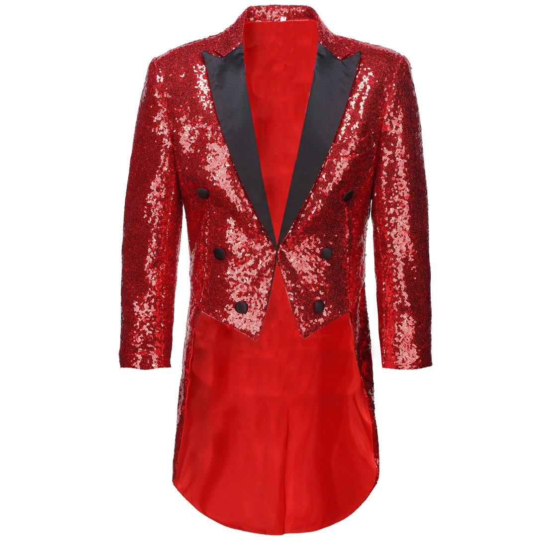 CARFFIV Mens Slim Fit Sequins Tailcoat Suit Jacket (Red, XL/38R) by CARFFIV