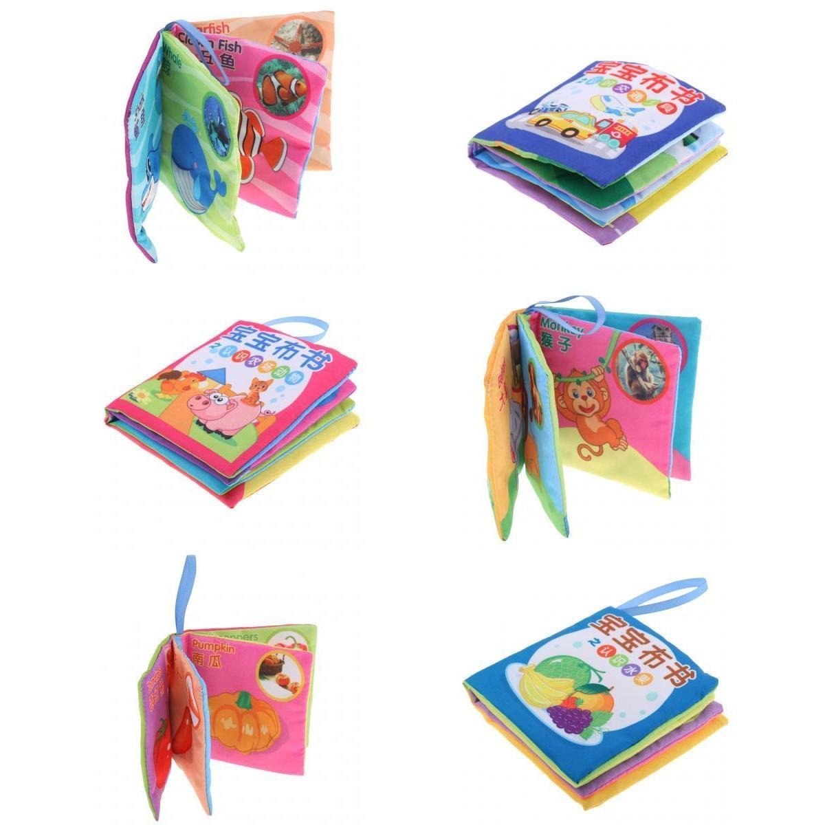 6 Set Soft Cloth Books Children Cognize English Chinese Shapes Colors Toy