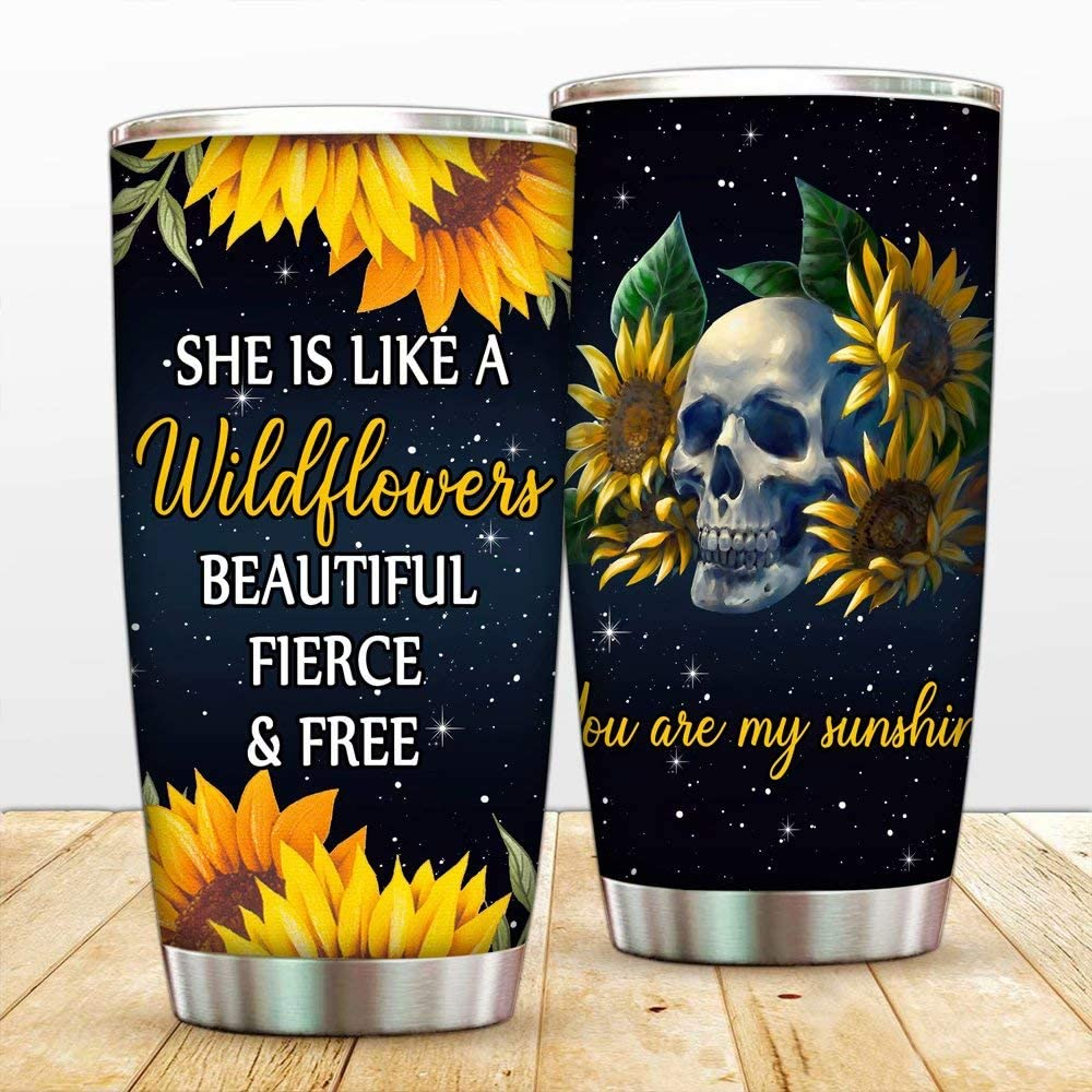 She's Sunshine Skull Tumbler 20 oz Stainless Steel Tumblers Mug Vacuum Insulated Sunflower Skeleton Travel Mug Double Walled Coffee Cup Ice Drink Hot Beverage Bottle with Lid Straw