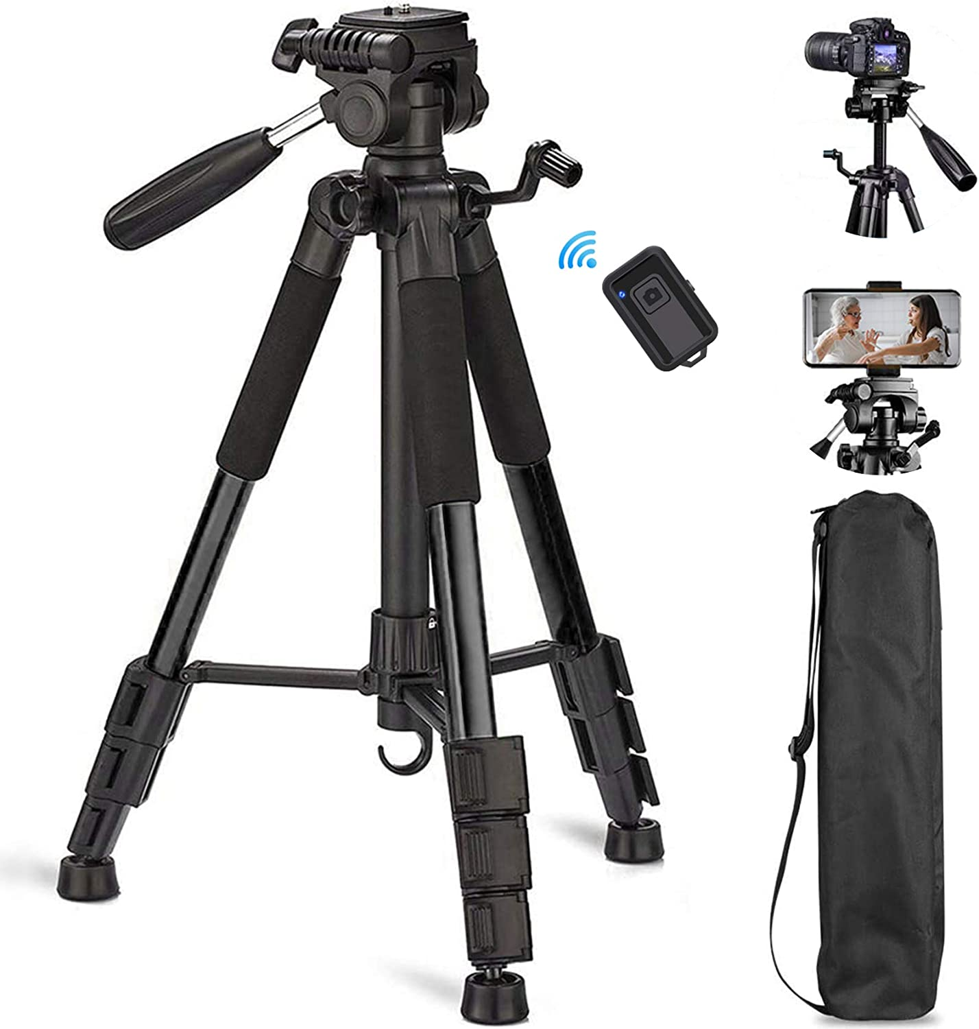 Sumcoo 57 inch Camera Tripod with Carry Bag, Portable Aluminum Travel Tripod with Bluetooth Remote & Universal Phone Mount for DSLR Cameras/Gopro/iPhone/Android Phone