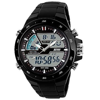 downj Skmei 1016 nuevo reloj deportivo de silicona 50 m resistente al agua Digital de luz