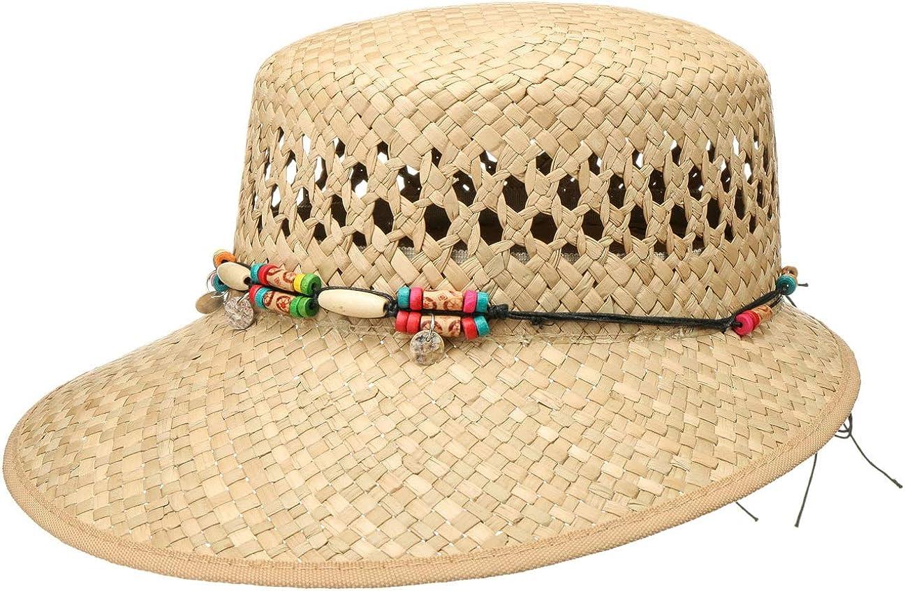 Lipodo Sombrero de Paja Indila Schute Mujer - Made in Italy Gorra Sol con Ribete, Visera Primavera/Verano