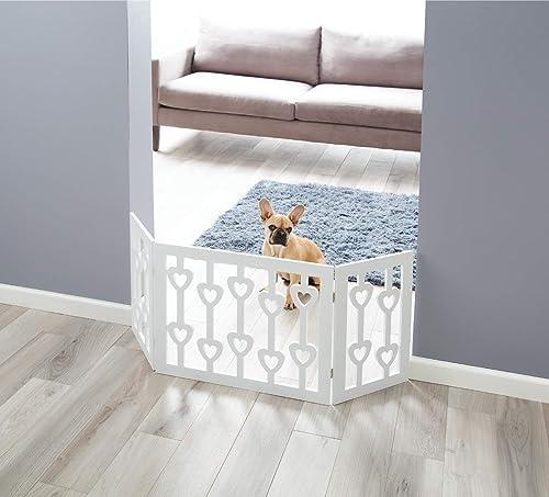 Zoogamo 3 Panel White Wooden Hearts Design Pet Gate – Freestanding Tri Fold Durable Wooden Dog Fence – Indoor Outdoor Barrier for Stairs Doorways