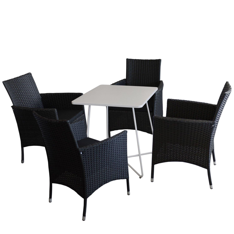 Bistromöbel Set Bistrotisch, Metall, 60x60cm, Weiß + 4x Rattansessel  Stapelbar