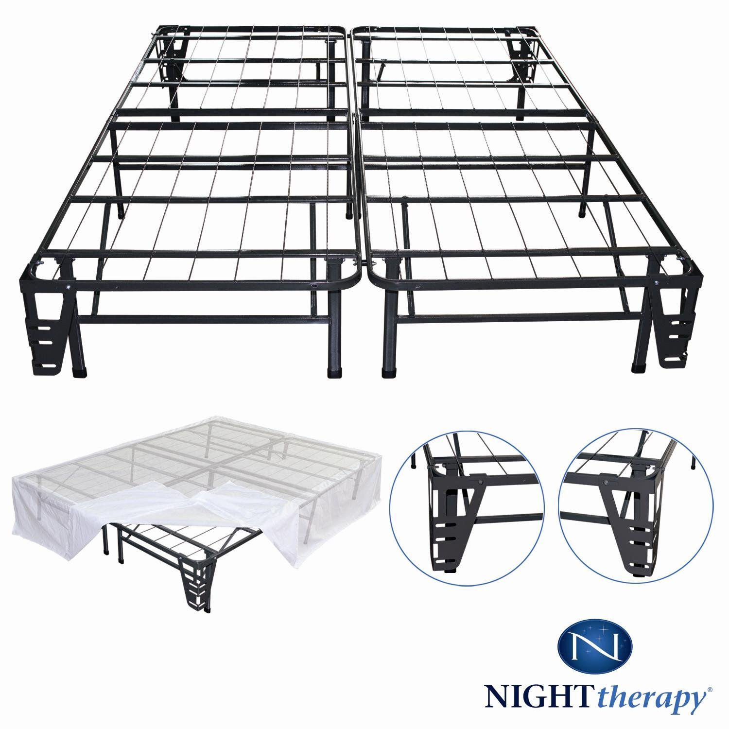Night Therapy Platform Metal Bed Frame/Foundation Set(SmartBase + Metal Brackets for Headboard & Footboard + Bed Skirt - Queen) - No Box Spring Needed by Night Therapy