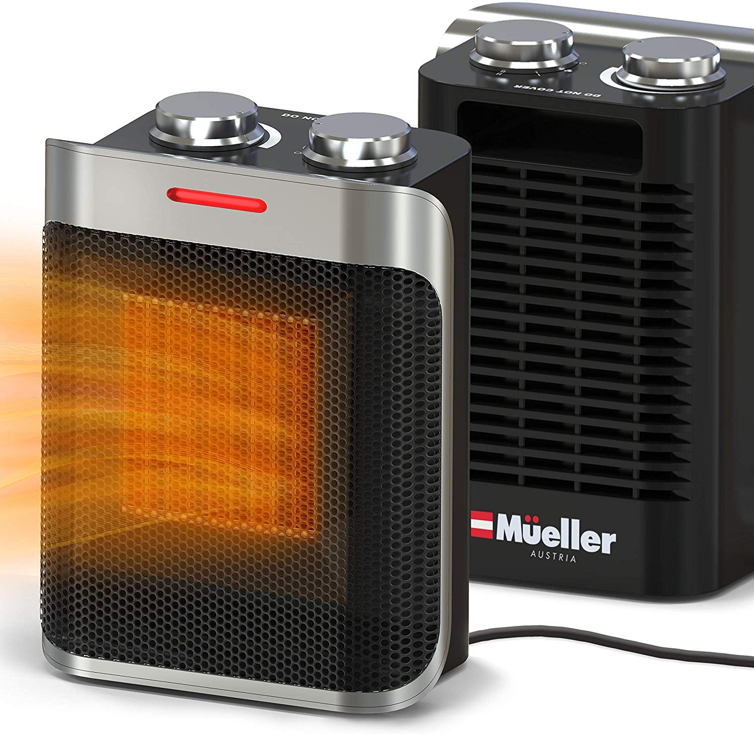 Mueller Portable Heater 750W/1500W Ceramic Space Heater, High Output Fan, Adjustable Thermostat, with overheat/tip over protection for Home Bedroom or Office, ETL Cerified 71ECaFuzqIL
